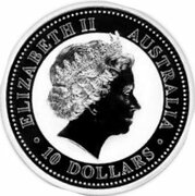 10 Dollars - Elizabeth II (4th Portrait - Australian Kookaburra - Silver Bullion Coin) -  obverse