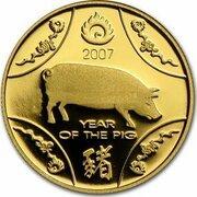 10 Dollars - Elizabeth II (4th Portrait - Year of the Pig - Gold Proof) -  reverse