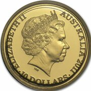 10 Dollars - Elizabeth II (4th Portrait - Year of the Rabbit - Gold Proof) -  obverse