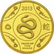 10 Dollars - Elizabeth II (4th Portrait - Year of the Snake - Gold Proof) -  reverse