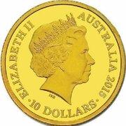 10 Dollars - Elizabeth II (4th Portrait - Year of the Goat - Gold Proof) -  obverse