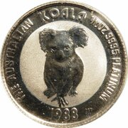 15 Dollars - Elizabeth II (3rd Portrait - Koala - Platinum Bullion Coin) -  reverse