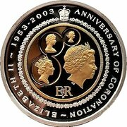 20 Dollars - Elizabeth II (4th Portrait - Golden Jubilee Coronation - Bi-Metalic Proof) -  reverse
