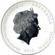 30 Dollars - Elizabeth II (4th Portrait - Year of the Tiger - Silver Bullion Coin) -  obverse
