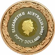 50 Dollars - Elizabeth II (4th Portrait - Commonwealth Games 2002 - Tri-Metalic) -  obverse