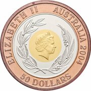 50 Dollars - Elizabeth II (4th Portrait - Olympic Games 2004 - Tri-Metalic) -  obverse