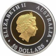 50 Dollars  - Elizabeth II (4th Portrait - Australian Wedge-Tailed Eagle - Bi-Metalic) -  obverse