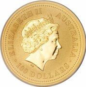 100 Dollars - Elizabeth II (4th Portrait - Kngaroo - Gold Bullion Coin) -  obverse