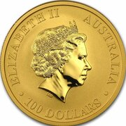 100 Dollars - Elizabeth II (4th Portrait - Kangaroo - Gold Bullion Coin) -  obverse