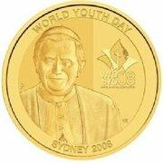 100 Dollars - Elizabeth II (4th Portrait - World Youth Day - Gold Proof) -  reverse