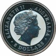 8 Dollars - Elizabeth II (4th Portrait - Year of the Rooster - Silver Bullion Coin) -  obverse