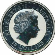 10 Dollars - Elizabeth II (4th Portrait - Year of the Rooster - Silver Bullion Coin) -  obverse