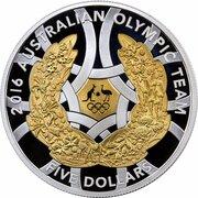 5 Dollars - Elizabeth II (4th Portrait - Australian Olympic Team Rio - Silver Proof) -  reverse