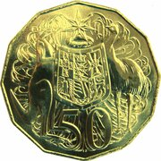 50 Cents - Elizabeth II (5th Portrait - Gottwald Proof Gold) -  reverse