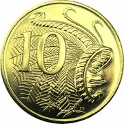 10 Cents - Elizabeth II (5th Portrait - Gottwald Proof Gold) -  reverse