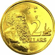 2 Dollars - Elizabeth II (5th Portrait - Gottwald Proof Gold) -  reverse