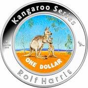 1 Dollar - Elizabeth II (4th Portrait - Rolf Harris Kangaroo - Silver Colourised Proof) -  reverse
