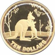 10 Dollars - Elizabeth II (4th Portrait - Rolf Harris Kangaroo - Gold Proof) -  reverse