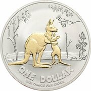 1 Dollar - Elizabeth II (4th Portrait - Rolf Harris Kangaroo - Silver Gilded Proof) -  reverse
