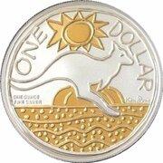 1 Dollar - Elizabeth II (4th Portrait - Ken Done Kangaroo -Silver Gilded Proof) -  reverse
