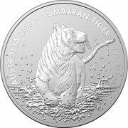 1 Dollar - Elizabeth II (6th Portrait - Sumatran Tiger Silver Bullion Coin) -  reverse