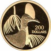 200 Dollars - Elizabeth II (4th Portrait - Cassowary - Gold Proof) -  reverse
