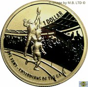 1 Dollar - Elizabeth II (4th Portrait - AFL Custodians Of The Game - Gold Plated Silver Proof) -  reverse