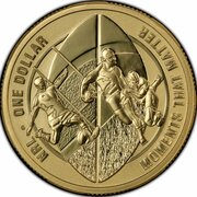1 Dollar - Elizabeth II (4th Portrait - NRL - Moments That Matter - Gold Plated Silver Proof) -  reverse