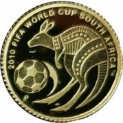 2 Dollars - Elizabeth II (4th Portrait - 2010 FIFA World Cup - Gold Proof) -  reverse