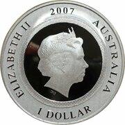 1 Dollar - Elizabeth II (4th Portrait - Lunar Pig - Lenticular Silver Frosted) -  obverse