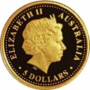 5 Dollars - Elizabeth II (4th Portrait - Sydney Harbour Bridge - Gold Proof) -  obverse