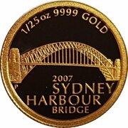 5 Dollars - Elizabeth II (4th Portrait - Sydney Harbour Bridge - Gold Proof) -  reverse