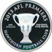 1 Dollar - Elizabeth II (4th Portrait - 2013 AFL Premiers - Silver Proof) -  reverse
