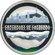 5 Dollars - Elizabeth II (4th Portrait - Centenary of Canberra - Silver Proof) – reverse