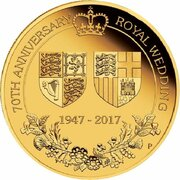 25 Dollars - Elizabeth II (4th Portrait - 70th Wedding Anniversary - Gold Proof) -  reverse