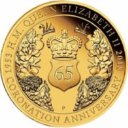 200 Dollars - Elizabeth II (4th Portrait - 65th Anniversary Coronation - Gold Proof) – reverse