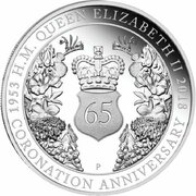 1 Dollar - Elizabeth II (4th Portrait - 65th Anniversary Coronation - Silver Proof) -  reverse