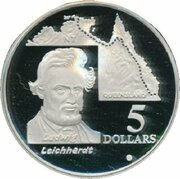 5 Dollars - Elizabeth II (3rd Portrait - Ludwig Leichhardt - Masterpieces in Silver) -  reverse