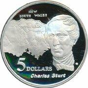 5 Dollars - Elizabeth II (3rd Portrait - Charles Sturt - Masterpieces in Silver) -  reverse