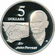 5 Dollars - Elizabeth II (3rd Portrait - Sir John Forrest - Masterpieces in Silver) – reverse