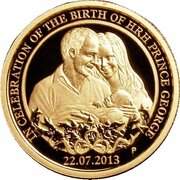 25 Dollars - Elizabeth II (4th Portrait - Birth HRH Prince George - Gold Proof) -  reverse