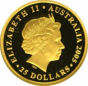 25 Dollars - Elizabeth II (4th Portrait - 150Yrs of The Sovereign - Gold Bullion Coin) -  obverse