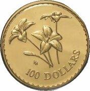 100 Dollars - Elizabeth II (4th Portrait - Royal Blue Bell - Gold Bullion Coin) – reverse