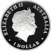 1 Dollar - Elizabeth II (4th Portrait - Discover Australia - Goanna) -  obverse