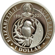 1 Dollar - Elizabeth II (6th Portrait - Kookaburra - 30th Anniversary High Relief) -  obverse