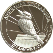 1 Dollar - Elizabeth II (6th Portrait - Kookaburra - 30th Anniversary High Relief) – reverse