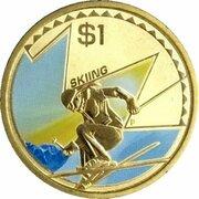 1 Dollar - Elizabeth II (4th Portrait - Young Collectors - Skiing) -  reverse