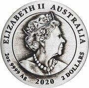 2 Dollars - Elizabeth II (6th Portrait - 75 Years End of WWII - Silver Antique) -  obverse