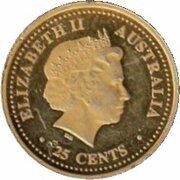 25 Cents - Elizabeth II (4th Portrait - Lunar New Year - Gold Plated) -  obverse