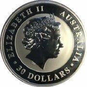 30 Dollars - Elizabeth II (4th Portrait - Kookaburra - Silver Bullion Coin) -  obverse